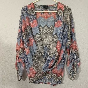 About a Girl Shear cross over Blouse size L